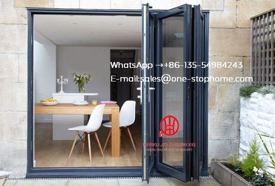 Black Color Low-E Glass Thermal Break Aluminum Folding Door For Villa House,outdoor Dividers Soundproof Bi Fold Door