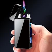 Qualidade superior USB Eletrônico À Prova de Vento Duplo Arco de Plasma Pulso Eletrônico mostrar poder de Gadgets para Homens Isqueiros de Metal Mais Leve|Acessórios para cigarros| |  -