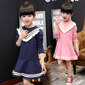 Fashion Kids Girls Short Dress Cotton Preppy Style Girls Dresses Stripe Tassel Collar Children Clothing