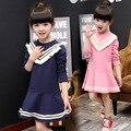 Moda Infantil Meninas Vestidos de Meninas de Vestido Curto de Algodão Estilo Preppy Stripe Tassel Collar Roupa Das Crianças