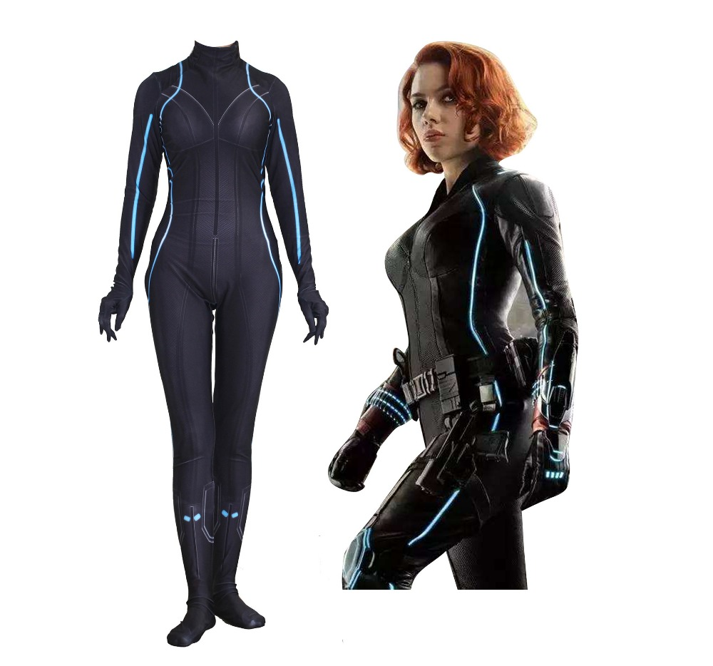 Black Widow Jumpsuits The Avengers Cosplay Costume Halloween Adult Kids Bodysuit