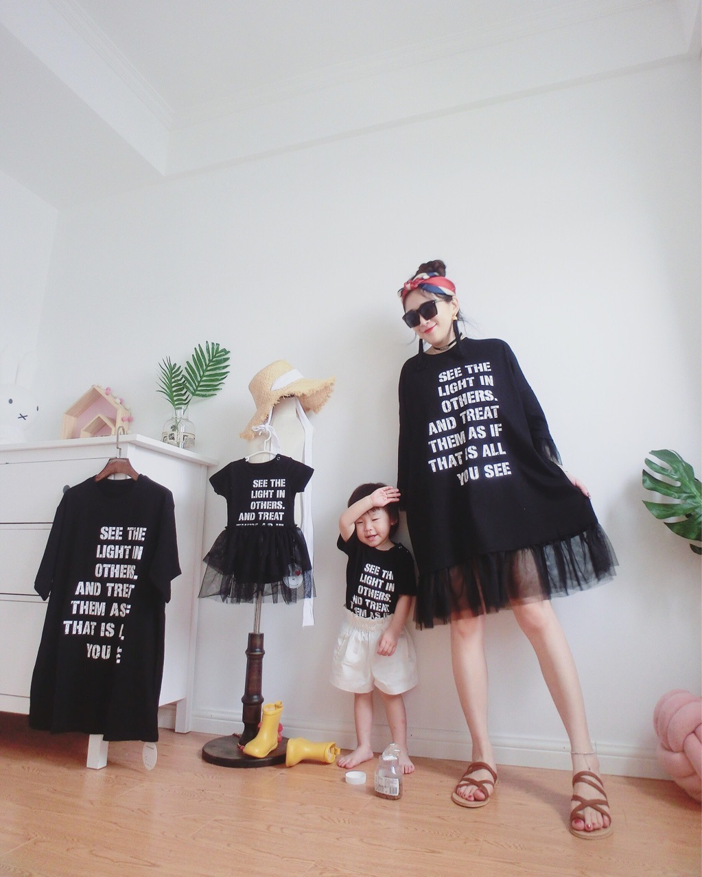 Mother Father Son Daughter Baby T Shirts Family Matching Outfits Lovely Letter Family Look Matching Clothes Short Sleeve Tops