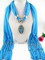 7 цвет 2017 черный синий красный роскошные женщины женские шарфы платки модные water drop rhinestone цветок кулон шарф ожерелье