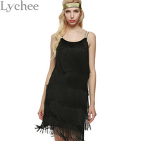 Bohemia Style Summer Women Spaghetti Strap Dress Bodycon Tassel Layered Party Dress Gatsby Fringe Flapper With