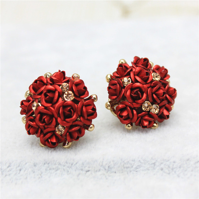 2018 new design fashion brand jewelry rose flower Summer style stud earring  gold Happy marriage earring for women gift f9ecfa0f9222