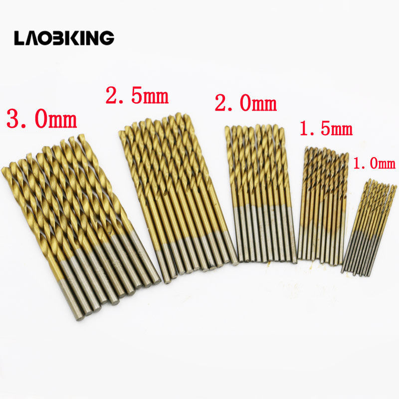 50Pcs Titanium Coated Drill Bits HSS High Speed Steel Drill Bits Set Tool High Quality Power Tools 1/1.5/2/2.5/3mm