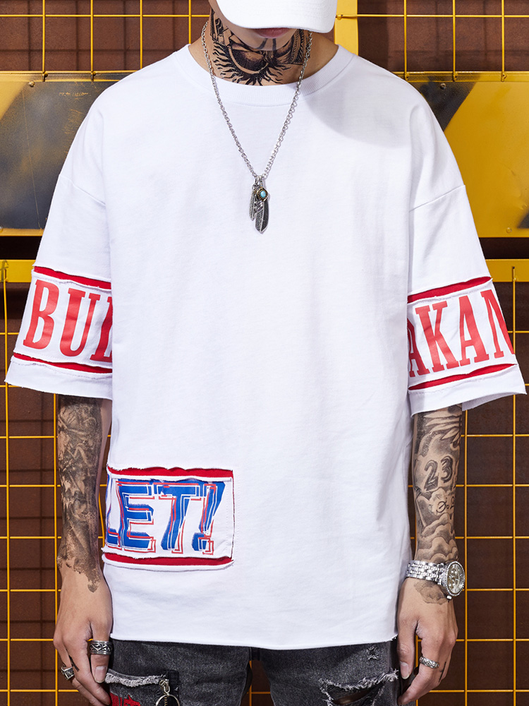 Hip hop summer trend personalized sticker BF men's street breeze behind creative printed loose half sleeved T-shirt 2