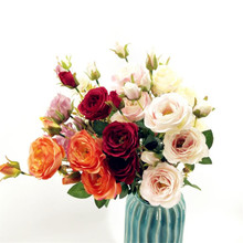 10pcs  Artificial Roses six heads white/pink/purple/orange/red Color Rose flower stems for Wedding centerpieces