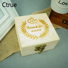 Custom Name Wedding Ring Box Engagement Personalized Wooden Bearer Storage With Lock Rustic Gifts Holder