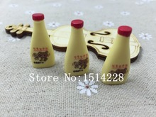 Free shipping! Kawaii Yellow Salad Bottle Model . Resin carft  for Dollhouse Miniature kitchen decoration,DIY .13*28.5mm