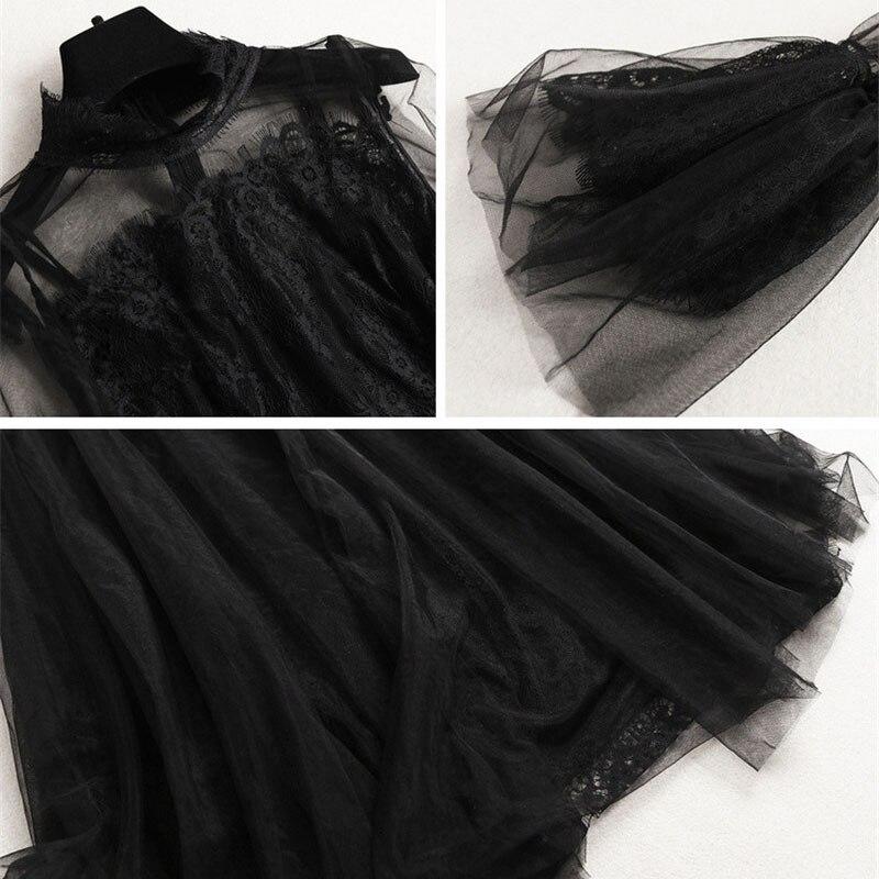 À Manches De Transparent Tulle Robes Élégant Sexy Dentelle 2019 Noir Europe Piste Longues Soirée Designer Femmes Printemps Robe Mode OqvvSP