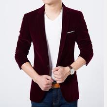 Mens blazer haute qualité costume veste coréenne de mode de velours bleu blazer casual Male veste unique poitrine plus la taille 6XL sur vente
