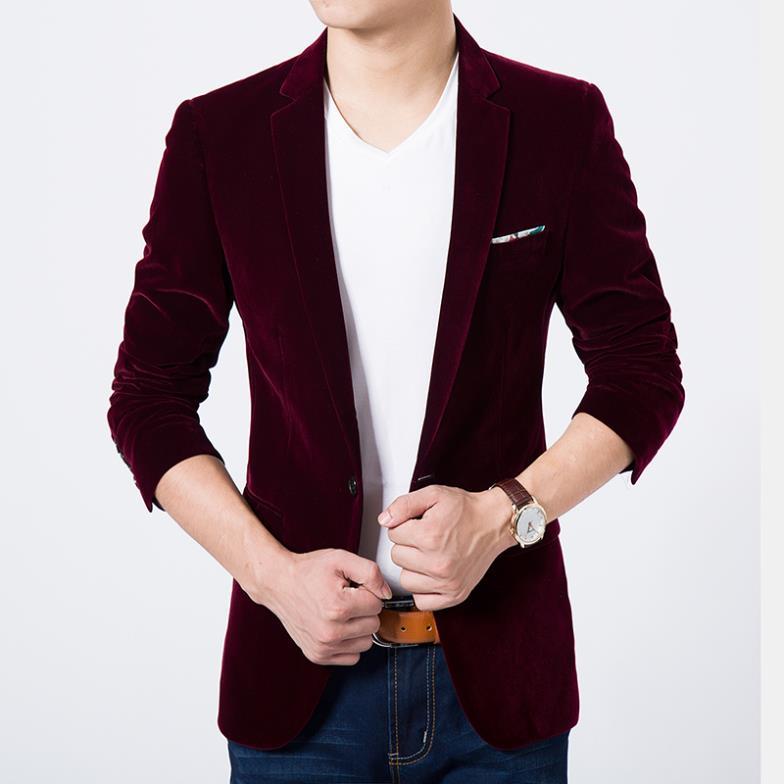 Mens blazer högkvalitativa kostymjacka koreansk mode sammet blå blazer manlig casual jacka singelbröst plus storlek 6XL till salu