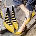 Натуральная кожа указал-toe клинья конский волос 2016 новая весна туфли на высоком каблуке свиной мода цвет блока женские туфли на высоком каблуке