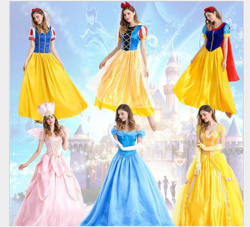 Original Princess Snow White Cinderella Dresses Costumes: Cinderella Fantasia Princess Snow White Cosplay Costume