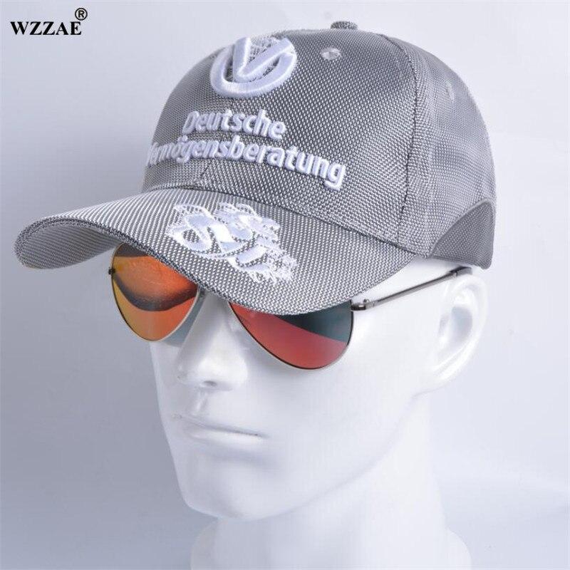 Prix pour WZZAE 2017 Nouveau Casquettes de Baseball Homme et Femme Snapback Chapeaux Équipe Commémorative Signature F1 MOTO GP Racing Caps Argent Gris