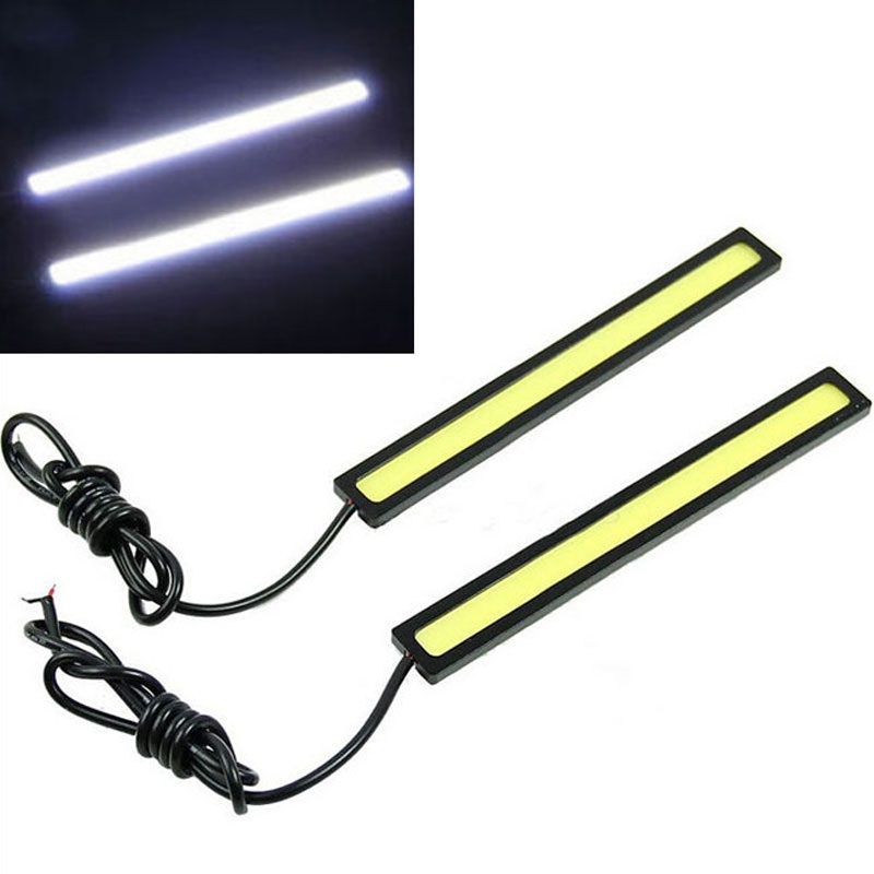 2Pcs 12V 6W Waterproof Strip LED Light High Power Car-Styling Auto Decorative Atmosphere Lamp for Car DRL Fog Driving