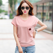 Loose Korean Summer T Shirt Women 2019 Batwing Sleeve T-Shirt Tops Female Embroidery Pockets Tee Femme