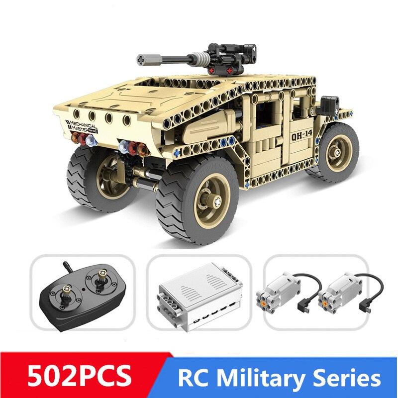 502 pièces bricolage blocs de construction Technique Militaire télécommande RC Armés Hummer De Voiture compatible avec Avec Légèreté Jouets Pour Enfants cadeaux