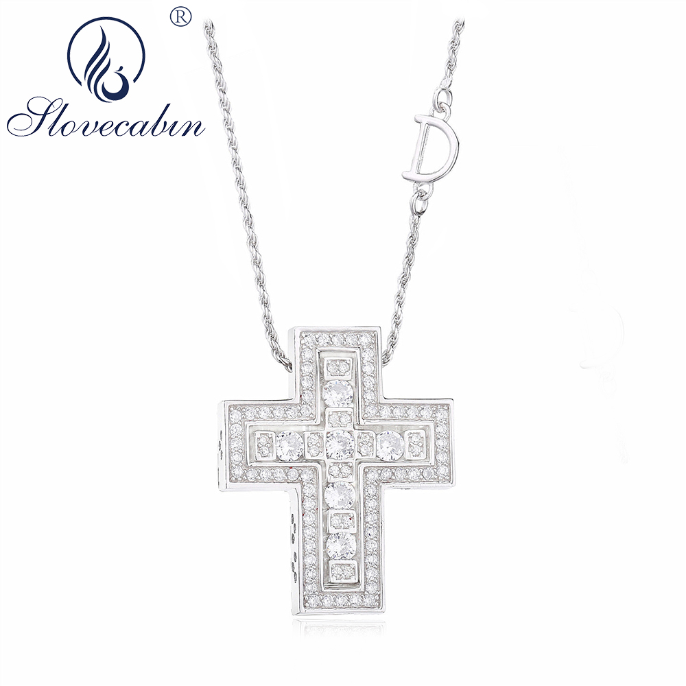 Slovecabin Real 100% 925 Sterling Silver Cross Pendant Women Necklaces For Women Japanese Fashion Style Wedding Choker Necklaces