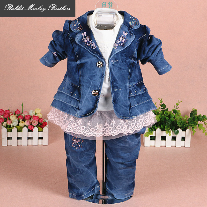 RMBkids Spring and Autumn girls Denim jacket coat lace t-shirt jeans three pcs sets lace denim child set baby girl out clothes new 2017 spring girls lace flower denim jacket t shirt jeans clothing sets 3pcs kids clothes sets girls casual denim suit