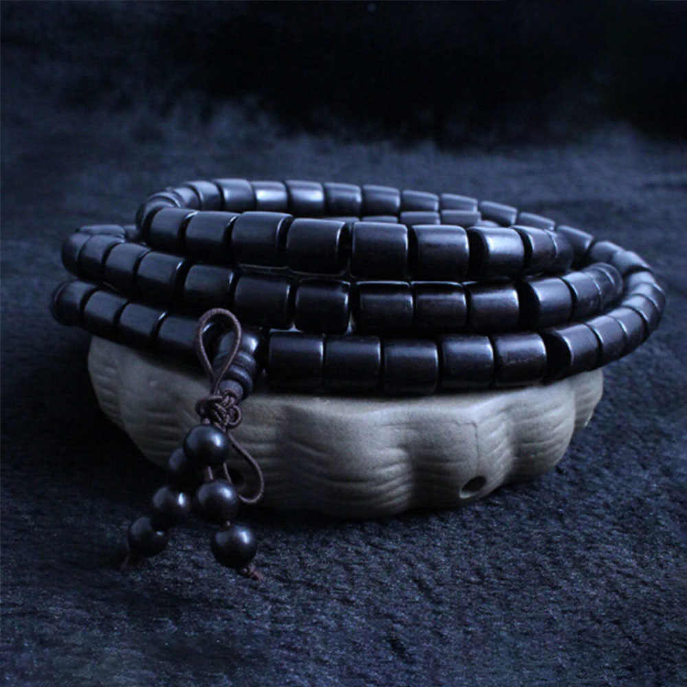 Wholesale Authentic Natural African Ebony Black Sandalwood Barrel Beads Hand String 108 Mala Men and Women Lover Beaded Bracelet