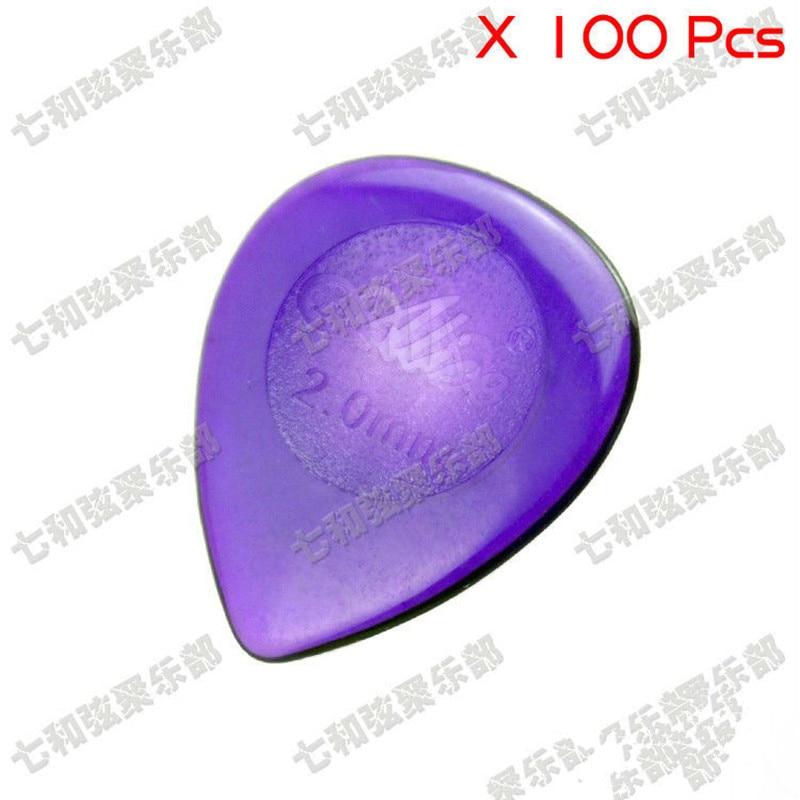 High Quality 100 Pcs 2.0mm Mix Color Big Water-drop Clear Guitar Picks Plectra Plectrums