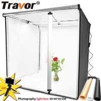 Caja de luz Travor 80*80CM caja de luz portátil foto LED caja de luz con 3 colores de fondo para estudio de fotografía caja de iluminación