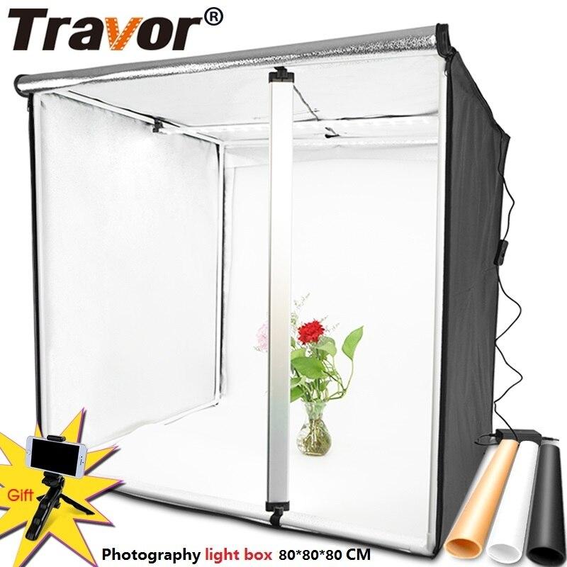 Tente portative de Lightbox de LED de Photo de Softbox de la boîte à lumière 80*80CM de Travor avec le fond de 3 couleurs pour la boîte d'éclairage de photographie de Studio