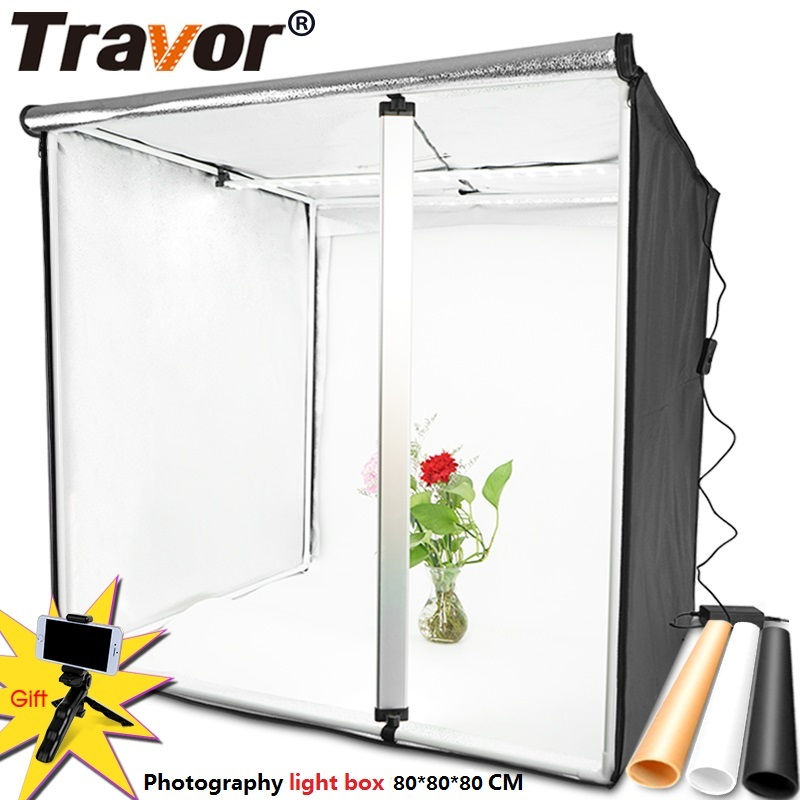 Travor Light Box 80*<font><b>80CM</b></font> Portable Softbox Photo <font><b>LED</b></font> Lightbox Tent With 3 Colors Background For Studio Photography Lighting Box image