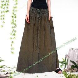 Verano de 2018 de talla grande 4XL 5XL 6XL Vintage Retro Casual de algodón de lino negro rojo Mujer Faldas extra largas para diseños