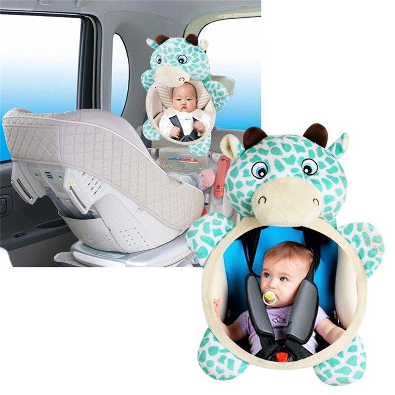 0 ~ 12 Monate Baby Auto Sitz Gefüllte Plüsch Spielzeug Tier Liebe Spiegel Rearview Baby Rassel Säugling Rücksitz Spielzeug Neugeborenen Zubehör