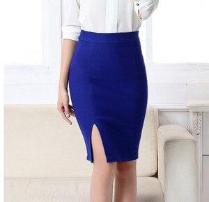 Image 2 - 2017 חדש נשים פורמליות עבודה ללבוש חצאיות גבירותיי סקסי גבוהה מותן מיני עיפרון חצאית 7 צבעים למתוח חבילה ירך SP5602