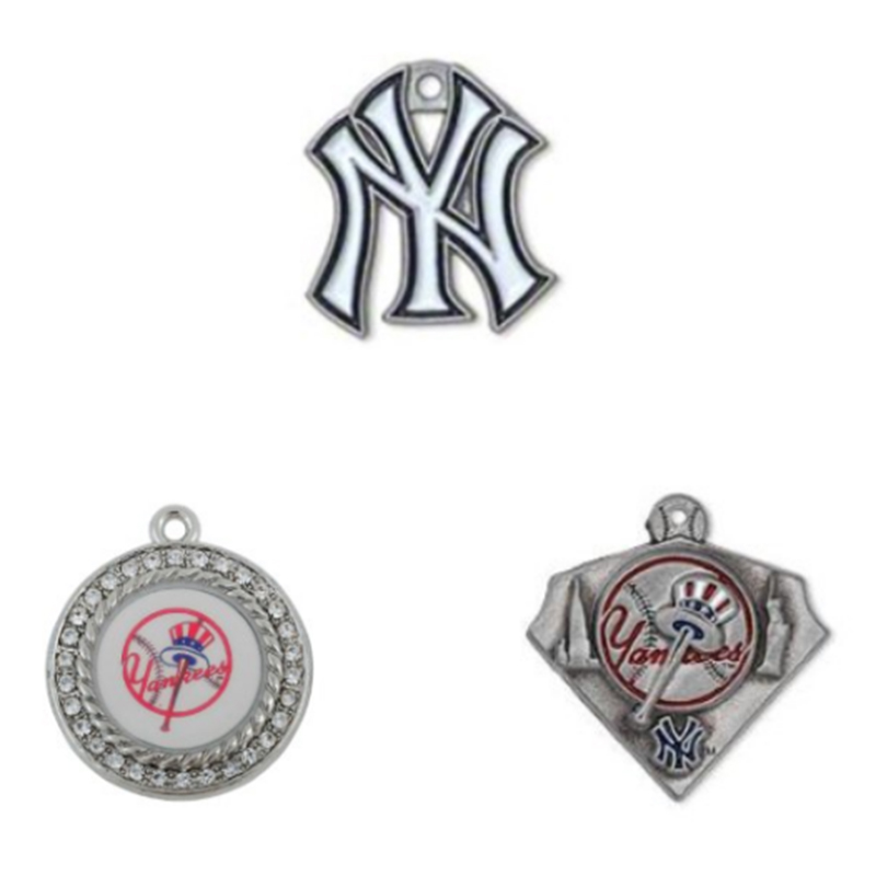 3 Styles NY Yankee Charms Alloy Crystal Baseball Team Logo Charms For DIY Necklace & Bra ...
