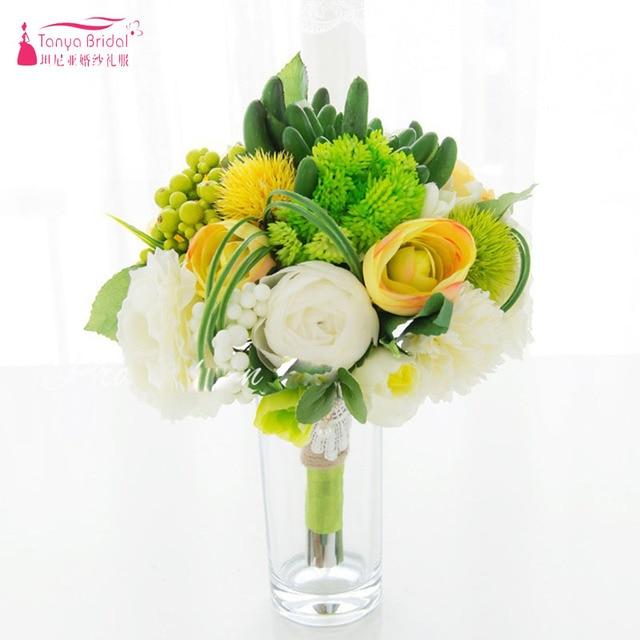 Aliexpress.com : Buy Green white and yellow Mori bride bouquet ...