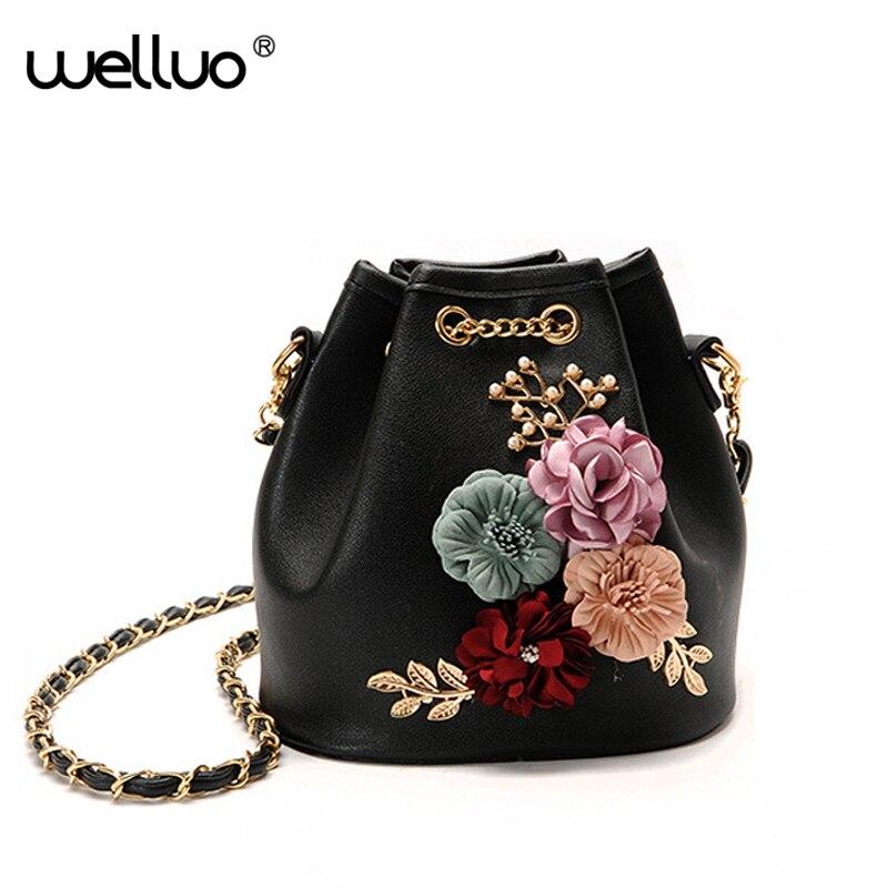 Women Crossbody Bag High Quality PU Leather Flower Shoulder Bags For Female Fashion Chain Appliques Girls 2018 Handbag XA463B