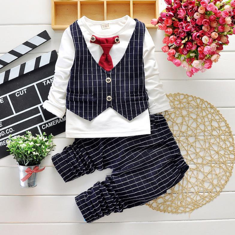 2017 Boys Spring Two Fake Clothing Sets Kids Boys Button Letter Bow Suit Sets Children Jacket + Pants 2 pcs Clothing Set Baby 5
