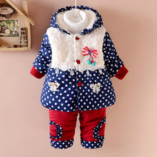 NEW Winter Baby Girls Clothes Jacket Fashion Dot Coat Thick Warm Coat Warm Pants Outerwear Cotton