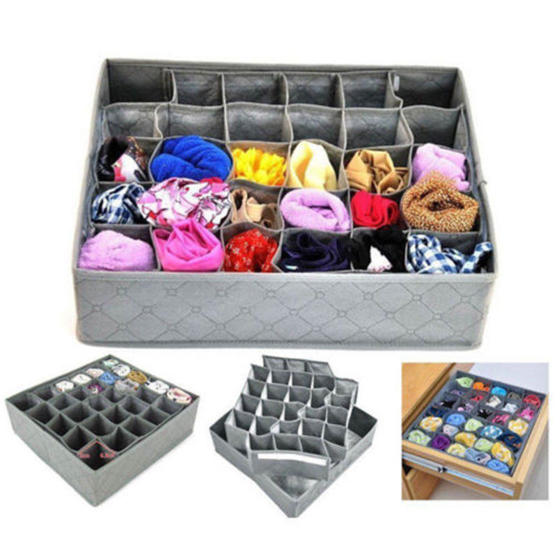Fordable 30 Cells Bamboo Charcoal Storage Boxes Underwear Divider Drawer Lidded Closet Organizer Ropa Interior Organizador
