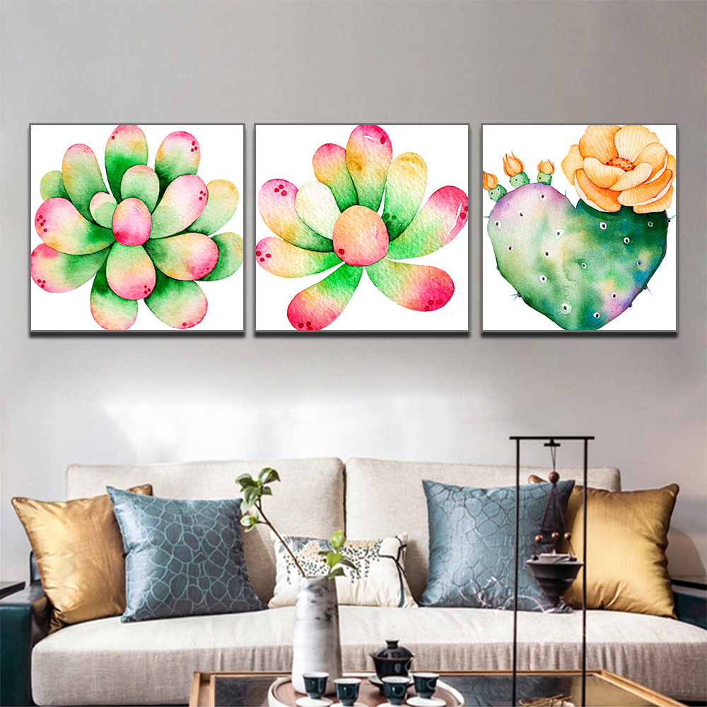 Unframed 3 Canvas Art Paintings Aloe Vera With Color Cactus Printing Mural Living Room Decorative Oil Painting