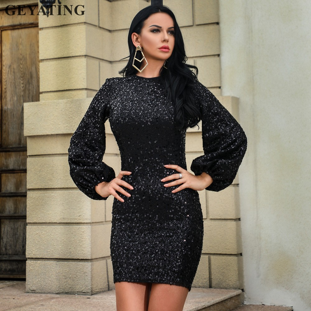 Sequin Cocktail Dress Sparkly Sequined Long Sleeves Black Cocktail Dress 219 Elegant White Mini  Short Formal Party Dresses Bodycon Sheath Evening Gown-in Cocktail Dresses  from ...
