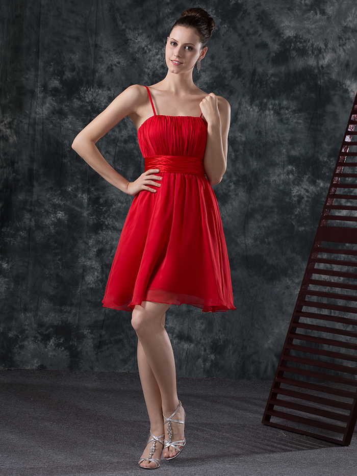 Cheap short a line red ruching chiffon bridesmaids dresses for Casual wedding party dresses