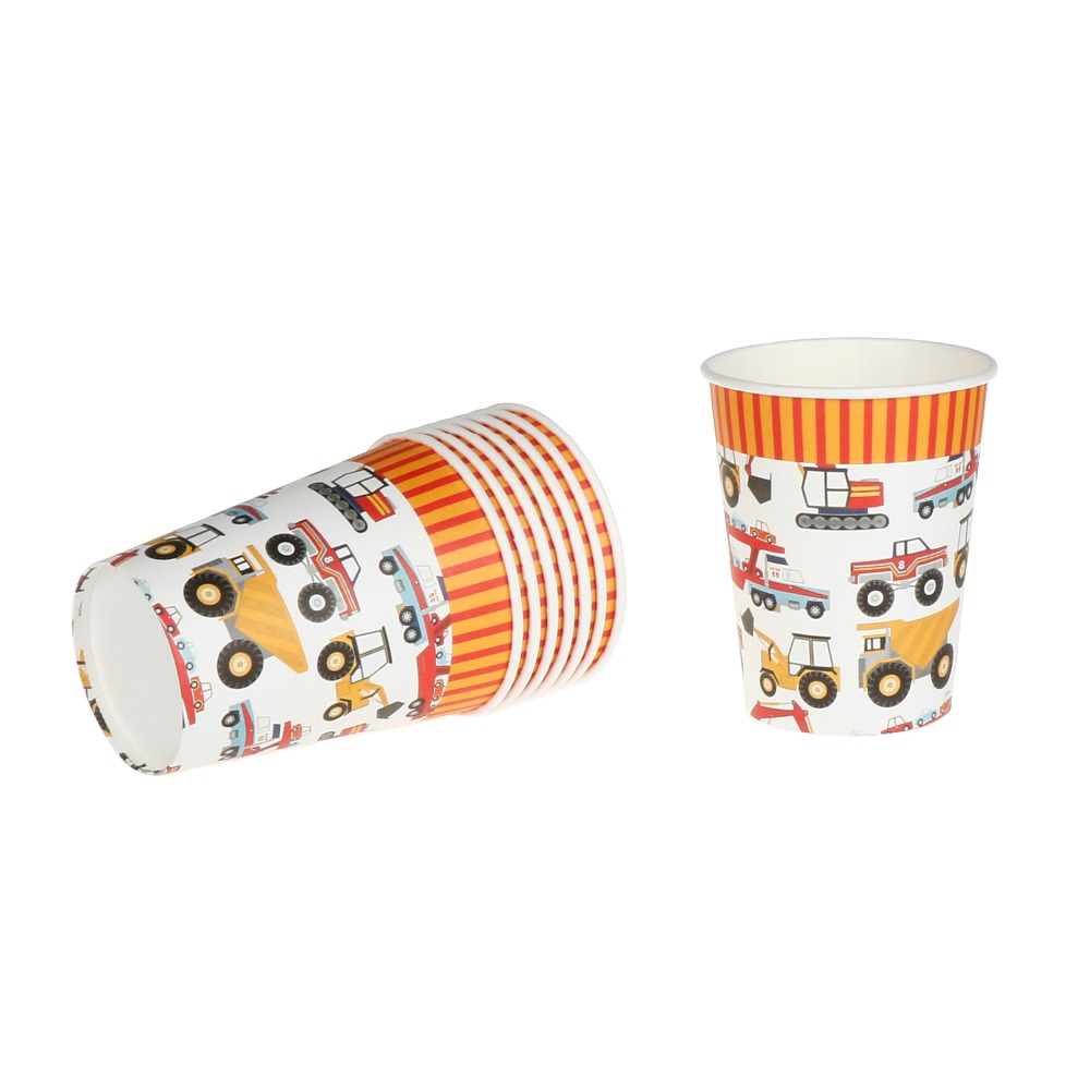 Riscawin 8pcs Cartoon Cars Theme Paper <font><b>Cups</b></font> Disposable Tableware Wedding Birthday Decorations Baby Shower For Kids Girls Boys