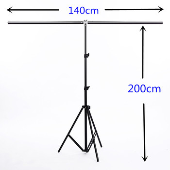 Photography Backdrop Background Support Stand System Metal with 3 clamps, Carrying Bag 140m X 200cm Photo Studio Accessories