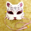 Half Face Hand-Painted Japanese Fox Mask Kitsune Purple Cosplay Masquerade for Party Carnival Halloween