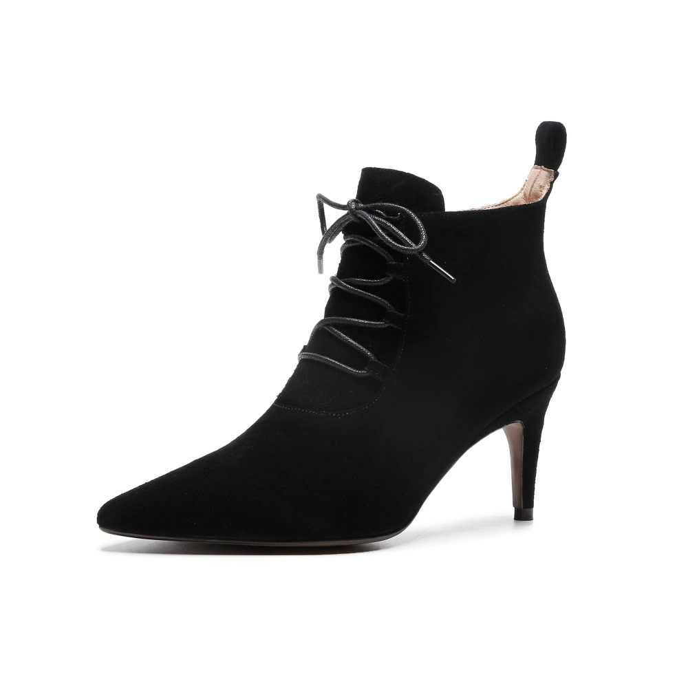 2019 süperstar inek süet yüksek topuklu sivri burun yarım çizmeler kadın dantel özlü zarif ofis lady düğün kış ayakkabı L95