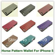 1PCS Hot Sales Crazy Horse PU Leather Folio Wallet Back Skin Covers Case for iPhone 5 5S Stand Case Free Shipping(China)