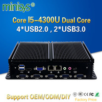 Minisys Linux Thin Client Core I5 4300u Dual Intel I211 AT Lan Industrial Mini Pc Serial