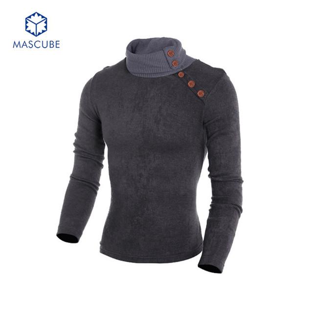 Casual masculino Outono Quente camisola de Gola Alta Pullover Lapela Malha Camisola Térmica Opção Multi Cor Design Sólido Macio Estilo Europeu