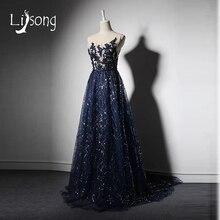 Fabulous Azul Marino Una Línea de Vestidos de Noche Largo Apliques Mujeres de Noche Formal Del Vestido vestido de noiva Red Carpet Maxi Vestidos Largos